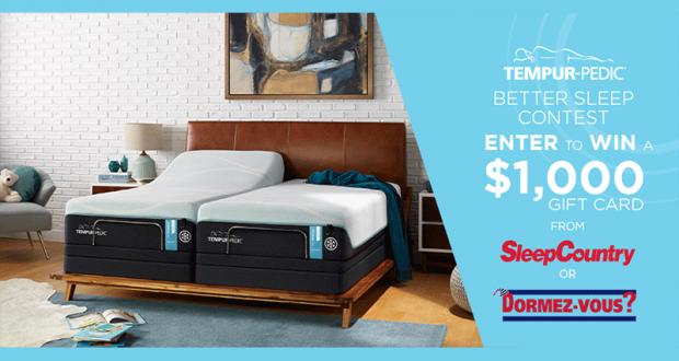 Carte-cadeau Sleep Country Canada - Dormez Vous de 1000$