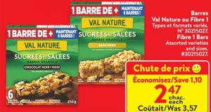 Rabais de 1.10$ sur Barres granola sucrées et salées
