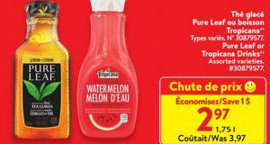 Rabais de 1$ sur Thé glacé Pure Leaf Citron 1.75 L
