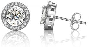 Boucles d'oreilles or blanc avec diamant à 12.99$ au lieu de 24.99$