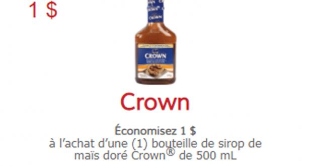Coupon de 1 $ à l'achat d'une bouteille Crown de 500 mL