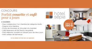 Gagnez un séjour couette et café pour deux à l'Hôtel Sepia