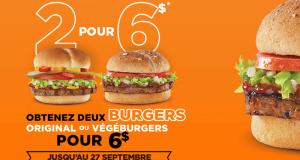 Obtenez 2 Burgers original ou végéburgers pour 6$ seulement