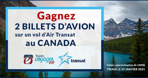 2 billets d'avion sur un vol d'Air Transat au Canada