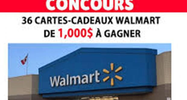 Gagnez 1 des 36 cartes-cadeaux Walmart de 1000$