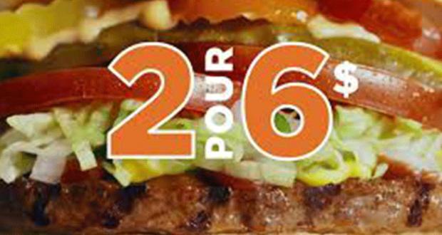 Obtenez 2 burgers cuits sur le gril pour 6$ seulement