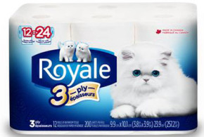 8 rouleaux papier hygiénique Royale à 1.99$
