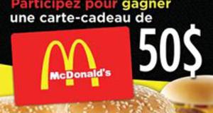 Carte cadeau McDonald's de 50$