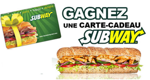 Carte cadeau Subway de 50$