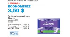 Rabais de 3.50 $ Protège-dessous longs Always