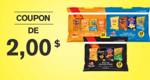 Coupon de 2$ à l'achat d'un emballage de produits assortis Frito-Lay