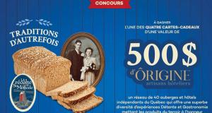 Gagnez 4 cartes-cadeaux d'Ôrigine artisans hôteliers de 500 $ chacune