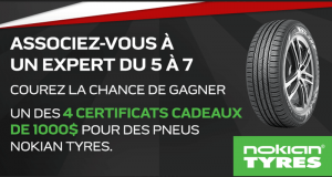 Gagnez 4 certificats-cadeaux de 1000 $ pour des pneus Nokian Tyres