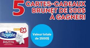Gagnez 5 cartes-cadeaux Brunet de 500$ chacune