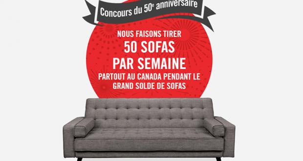 Gagnez 50 sofas par semaine (Valeur Total : 99 900 $)