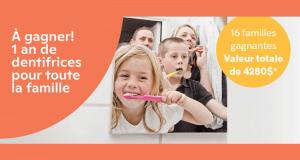 Gagnez un an de dentifrice pour toute la famille (16 Familles gagnantes)