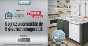 Gagnez un ensemble de 5 électroménagers GE (Valeur de 8445 $ )
