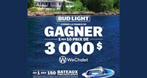 Gagnez 10 grand prix Wechalet (Valeur de 3000 $ chacun)