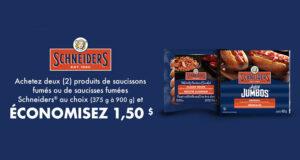 Coupon de 1.50$ sur saucissons ou saucisses Schneiders